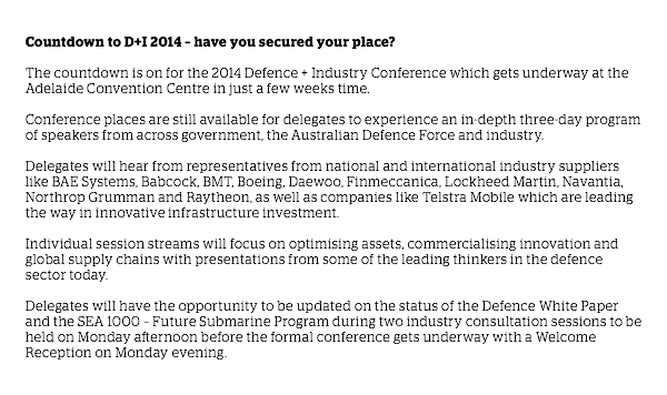 Countdown to D+I 2014 – have you secured your place? visit http://defenceandinsustry.gov.au/ for more details
