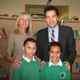 Edward Timpson with Wistaston Green headteacher Linda Davis and two pupils