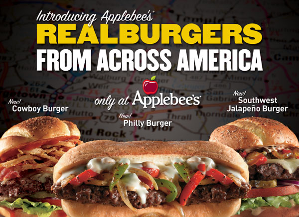 Introducing Applebee's REALBURGERS FROM ACROSS AMERICA
