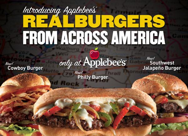Introducing Applebee's REALBURGERS FROM ACROSS AMERICA
